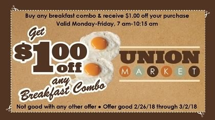 $1.00 off any Breakfast Combo Coupon