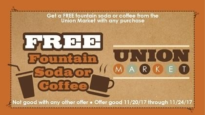 Free Fountain Soda or Coffee with Purchase Coupon