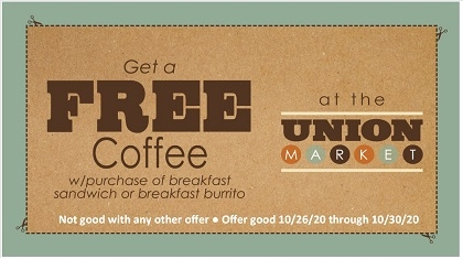 Free Coffee with Purchase of Breakfast Sandwich or Breakfast Burrito