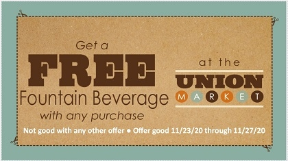 Free Fountain Beverage with any Purchase Coupon